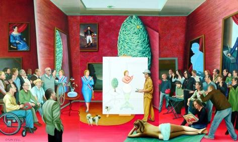 EL TALLER DEL ARTISTA pintura acrílica y texturas sobre tela de 400 x 250 cm -2009